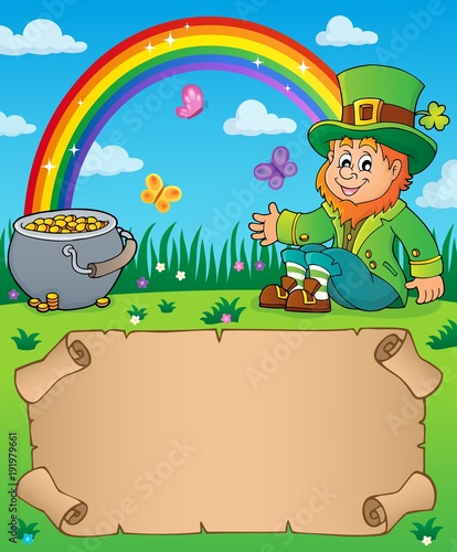 Fotobehang Voor kinderen Small parchment with leprechaun theme 2