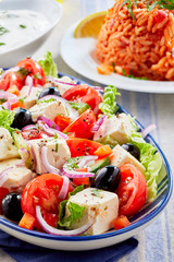 Close up on a plate of fresh Greek salad