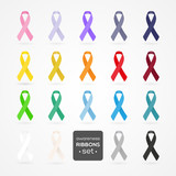 Fototapety Set of awareness ribbons. Realistic style. Vector illustration.