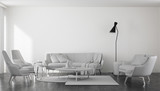 Sofas with armchairs in spacious minimalist room - 191981888