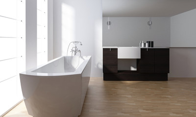 Modern minimalist stylish bathroom interior