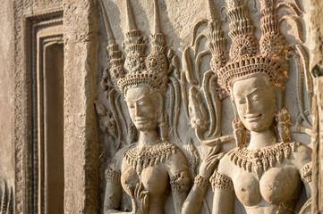 Detail of women statues in Angkor Wat, Siem Rep, Cambodia