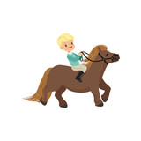 Cheerful blonde little boy riding pony horse, childrens equestrian sport vector Illustration - 191984236