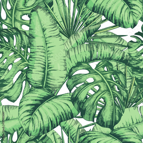 Seamless tropical leaves pattern for fashion textile, black line plant vector illustration