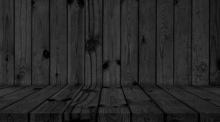 Wood Dark background texture. Table black Blank for design