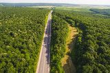 Dron View on Road Along Forest - 191989418