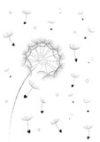 dandelion flower seeds in a heart shape flyingin the air isolated on the white background vertical, vector illustration