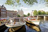 Tour Boats Docked, Amsterdam, Netherlands - 191992296