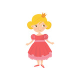 Portrait of cute fairy tale princess in pink dress and golden crown on head. Cartoon character of little girl with smiling face expression. Colorful flat vector design