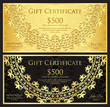 Luxury gold and black gift certificate with rounded lace decoration and vintage background - 191996032