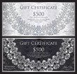 Luxury silver and black gift certificate with rounded lace decoration and vintage background - 191996072