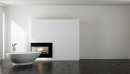 Minimalist bathroom with bathtub and fireplace