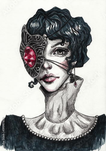 Gothic girl with short black hair and a mask on her face. Fashion hand-drawn illustration - 191997853