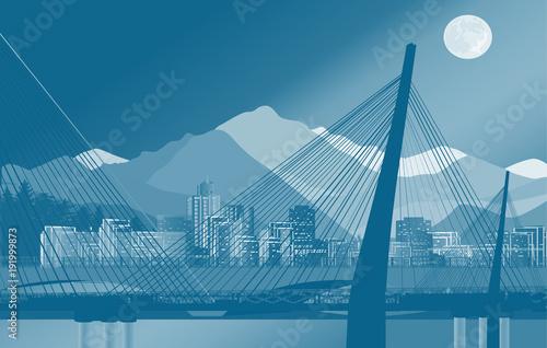 blue bridge with city on background