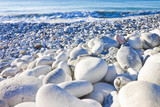 White and gray stones softly rounded and washed from sea water - 192003263