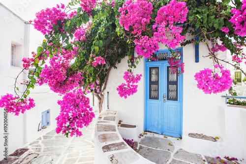 Traditional greek house with flowers in Paros island, Greece © kite_rin