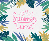 Tropical leaves. Vector frame in scandinavian style. Hand drawn background with lettering - Summer time. - 192007205