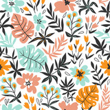 Seamless pattern with wild tropical plants and flowers. Tropic vector repeating background. - 192007240