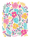 Vector floral card in doodle style with flowers and leaves. Gentle, summer floral background. - 192007268