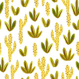 Seamless pattern painted in gouache plants, leaves and cacti isolated on the white background. Desert fabric design. - 192007421
