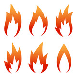 six Red Flame Icon set isolated on a white - 192010014