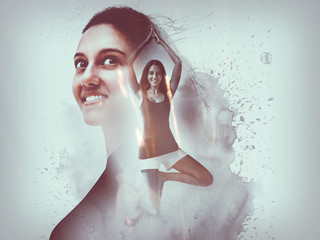 Creative composite overlay of happy yoga woman