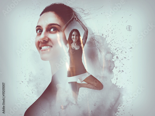 Keuken foto achterwand School de yoga Creative composite overlay of happy yoga woman
