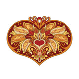 illustration of a red gold heart - 192013601