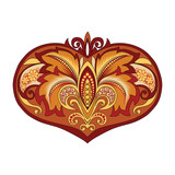 illustration of a red gold heart - 192013614
