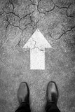 Business concept. Businessman standing on the hard and difficult path ahead - 192013697