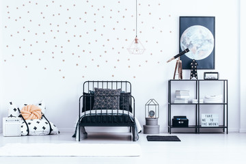 Teenager's bedroom interior with stars