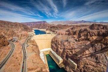 Aerial view of Hoover Dam in summer, Nevada, USA