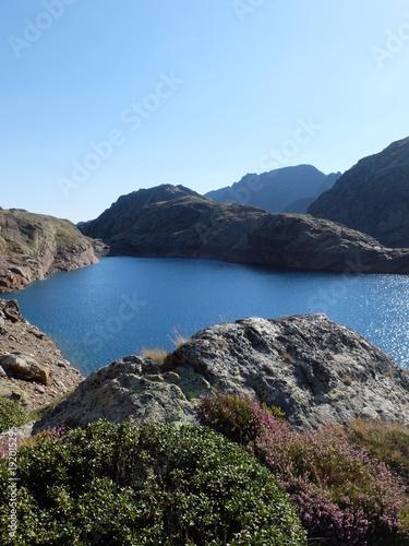 Foto op Plexiglas Blauwe hemel Lac de montagne