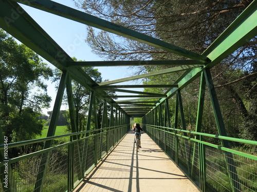 Fotobehang Weg in bos Pont avec cycliste