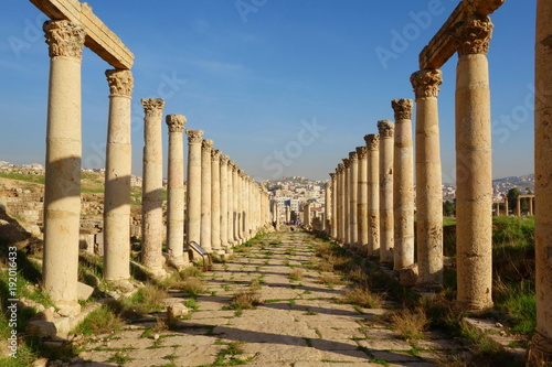 Columns of the cardo maximus, Ancient Roman city of Gerasa of Antiquity , modern Jerash, Jordan, Middle East