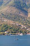 white Sailing Ship in the Bokaktorsky Bay. Montenegro.