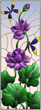 Illustration in stained glass style with Lotus leaves and flowers, purple flowers and dragonflies on sky background