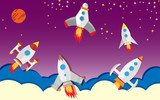 Spaceships Flying Into Outer Space Simple  Illustration Wall Sticker