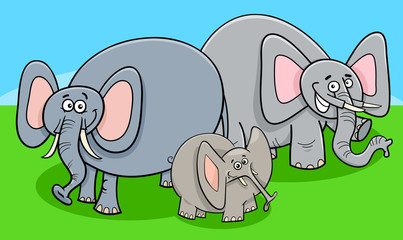 funny elephants cartoon character group