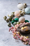 Easter decoration with colored quail and chicken eggs - 192029870