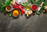 Spices, herbs and various other culinary ingredients background