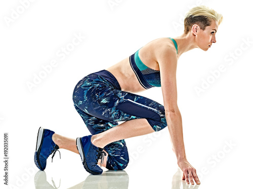 Fotobehang Hardlopen one young caucasian woman runner running jogger jogging studio isolated in white background