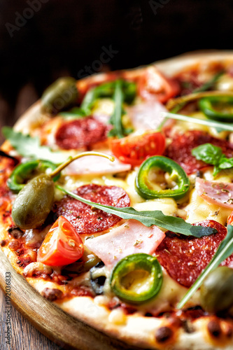 Pizza with Salami and Ham - 192036833