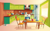Vector cartoon illustration of cozy modern kitchen with appliances, fridge, stove, toaster, microwave, kettle. Comfortable and clean dining-room, interior inside, concept with furniture and tableware - 192037461
