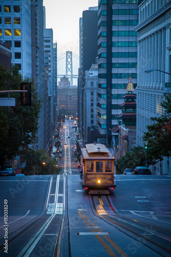 San Francisco Cable Car on California Street in twilight, California, USA