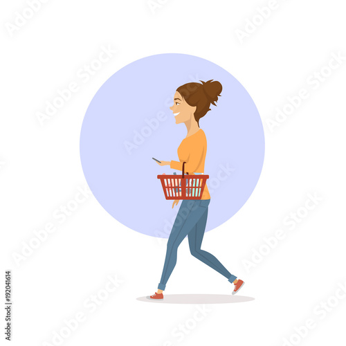 woman buying household items in supermarket