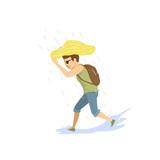 man running under the strong summer rain - 192041836