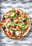 Pizza with Ham and Mushrooms - 192041872