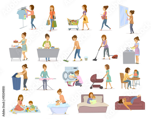 woman does household activities, home daily chores like cleaning, cooking, shopping, washing, take care of child