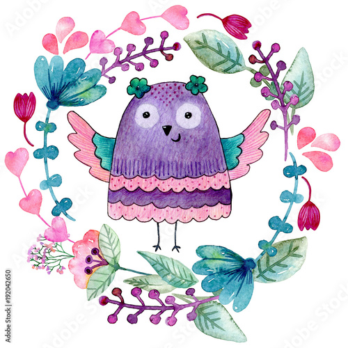 Foto op Canvas Uilen cartoon Watercolor funny illustration with owl and flowers.